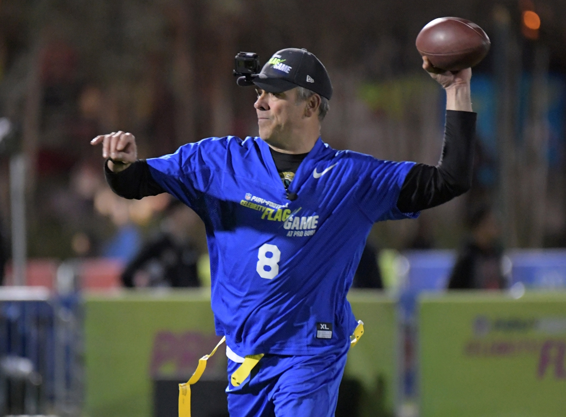 Jan 25, 2019; Kissimmee, FL, USA; Mark Brunell throws a pass during the Play Football Celebrity Flag Game at ESPN Wide World of Sports Complex. Mandatory Credit: Kirby Lee-USA TODAY Sports