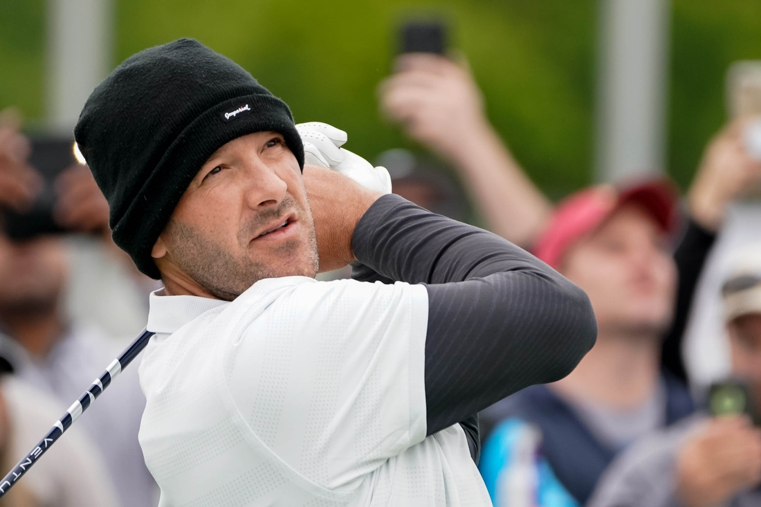 May 10, 2019; Dallas, TX, USA; Tony Romo plays his shot from the first tee during the second round of the AT&T Byron Nelson golf tournament at Trinity Forest Golf Club. Mandatory Credit: Ray Carlin-USA TODAY Sports