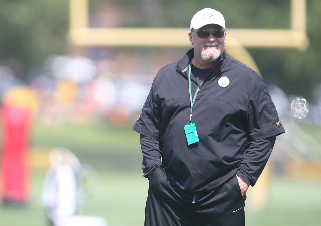 Jul 27, 2019; Latrobe, PA, USA;   Pittsburgh Steelers offensive coordinator Randy Fichtner observes drills during training camp at Saint Vincent College. Mandatory Credit: Charles LeClaire-USA TODAY Sports