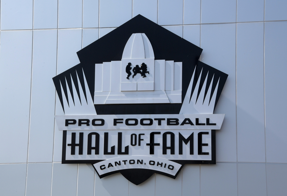 Aug 3, 2019; Canton, OH, USA;  General overall view of the Pro Football Hall of Fame logo. Mandatory Credit: Kirby Lee-USA TODAY Sports