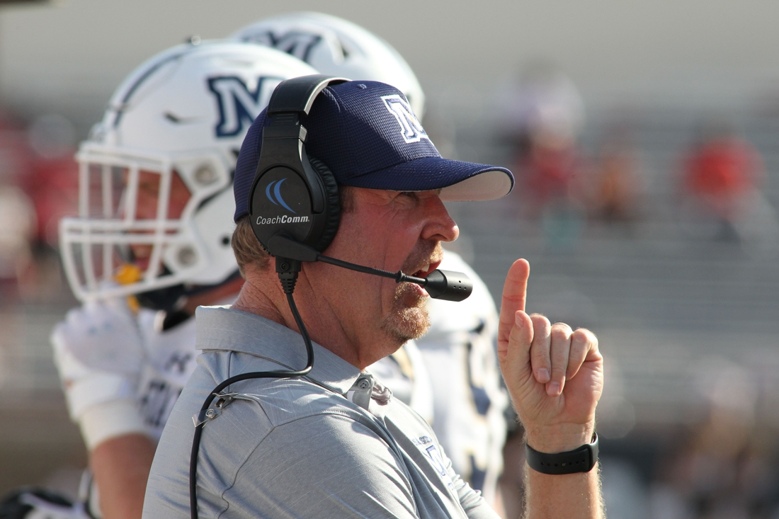 Aug 31, 2019; Lubbock, TX, USA; Montana State Bobcats head coach Jeff Choate signals a play in the second half during the game against the Texas Tech Red Raiders at Jones AT&T Stadium. Mandatory Credit: Michael C. Johnson-USA TODAY Sports