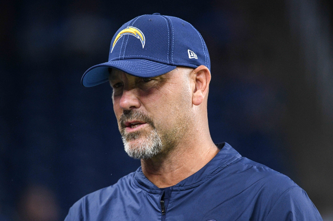 Sep 15, 2019; Detroit, MI, USA; Los Angeles Chargers defensive coordinator Gus Bradley before the game against the Detroit Lions at Ford Field. Mandatory Credit: Tim Fuller-USA TODAY Sports