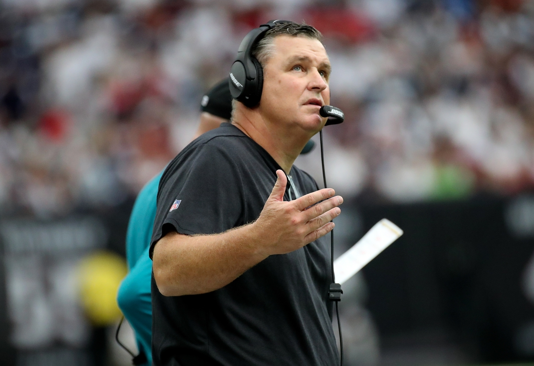Sep 15, 2019; Houston, TX, USA; Jacksonville Jaguars head coach Doug Marrone reacts during the second half against the Houston Texans at NRG Stadium. Mandatory Credit: Kevin Jairaj-USA TODAY Sports