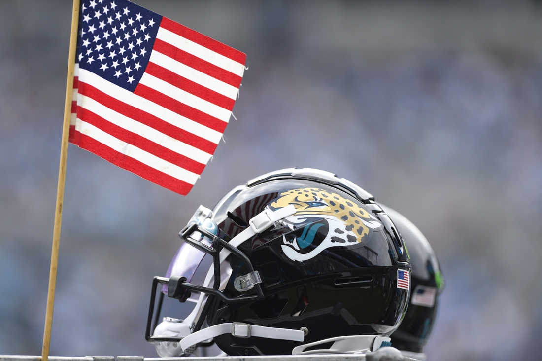 Oct 6, 2019; Charlotte, NC, USA; Jacksonville Jaguars helmet in the third quarter at Bank of America Stadium. Mandatory Credit: Bob Donnan-USA TODAY Sports