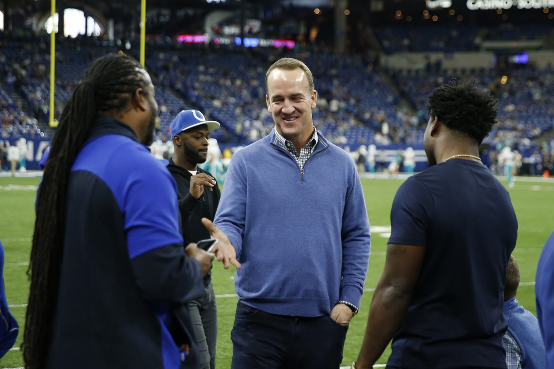 Nov 10, 2019; Indianapolis, IN, USA;  Indianapolis Colts former quarterback Peyton Manning stands on the field before a game between the Colts and the Miami Dolphins at Lucas Oil Stadium. Mandatory Credit: Brian Spurlock-USA TODAY Sports