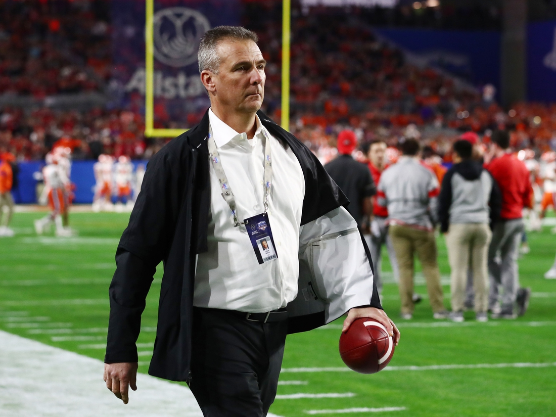 Dec 28, 2019; Glendale, AZ, USA; Ohio State Buckeyes former head coach Urban Meyer before the 2019 Fiesta Bowl college football playoff semifinal game against the Clemson Tigers at State Farm Stadium. Mandatory Credit: Matthew Emmons-USA TODAY Sports