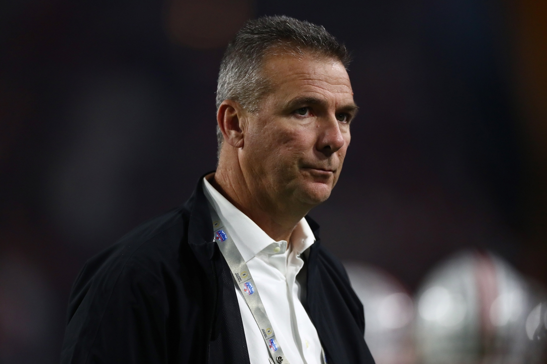 Dec 28, 2019; Glendale, Arizona, USA; Ohio State Buckeyes former head coach Urban Meyer on the sidelines during the game against the Clemson Tigers in the 2019 Fiesta Bowl college football playoff semifinal game. Mandatory Credit: Matthew Emmons-USA TODAY Sports