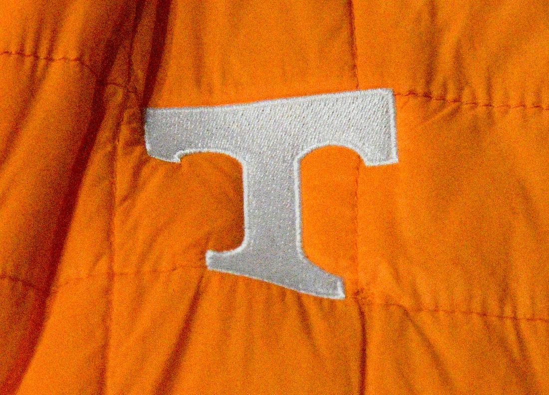 Jan 18, 2020; Nashville, Tennessee, USA; Tennessee Volunteers logo on a fans jacket prior to the game against the Vanderbilt Commodores at Memorial Gymnasium. Mandatory Credit: Jim Brown-USA TODAY Sports