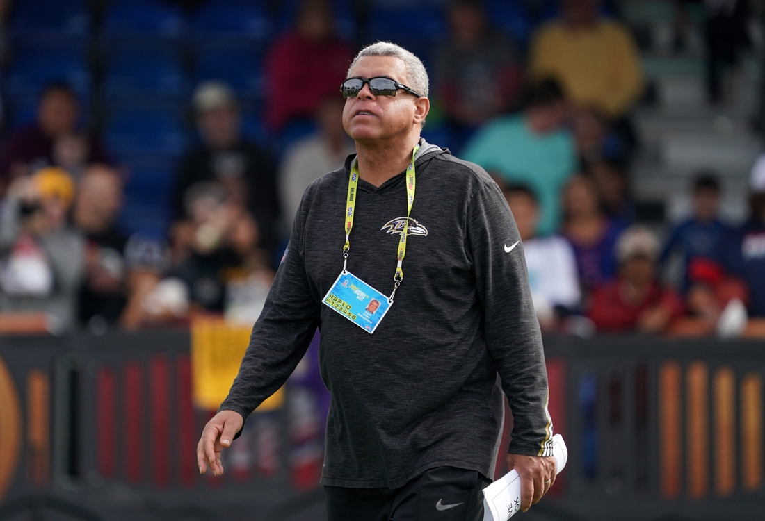 Jan 23, 2020; Kissimmee, Florida, USA; Baltimore Ravens receiver coach David Culley during AFC practice at ESPN Wide World of Sports. Mandatory Credit: Kirby Lee-USA TODAY Sports