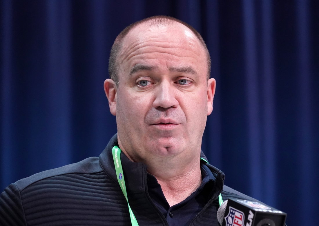 Feb 25, 2020; Indianapolis, Indiana, USA; Houston Texans coach Bill O'Brien speaks during the NFL Scouting Combine at the Indiana Convention Center. Mandatory Credit: Kirby Lee-USA TODAY Sports
