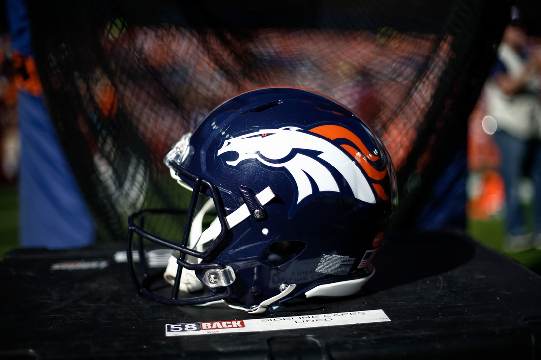 Oct 13, 2019; Denver, CO, USA; A detail view of a Denver Broncos helmet in the second quarter against the Tennessee Titans at Empower Field at Mile High. Mandatory Credit: Isaiah J. Downing-USA TODAY Sports
