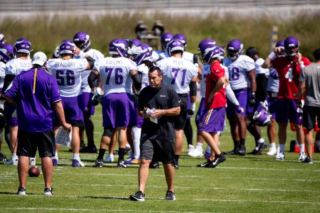 Aug 16, 2020; Eagan, Minnesota, USA; Minnesota Vikings offensive coordinator Gary Kubiak during practice at TCO Performance Center Mandatory Credit: Brad Rempel-USA TODAY Sports