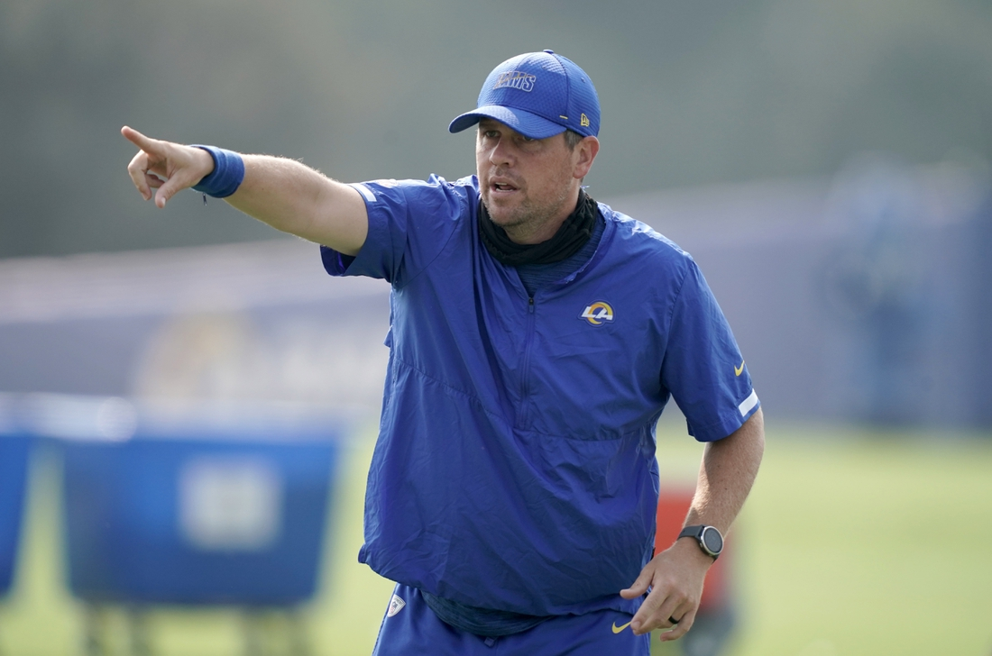 Aug 21, 2020; Thousand Oaks, CA, USA; Los Angeles Rams pass game coordinator Shane Waldron gestures  during training camp at Cal Lutheran University. Mandatory Credit: Kirby Lee-USA TODAY Sports