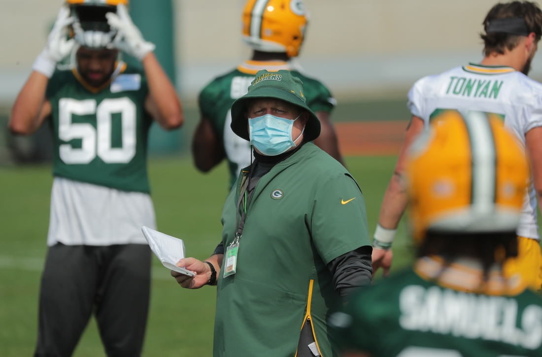 Aug 24, 2020; Milwaukee, WI, USA;   Green Bay Packers special teams coordinator Shawn Mennenga is shown Monday, August 24, 2020 during the team's training camp in Green Bay, Wis.  Mandatory Credit:  Mark Hoffman/Milwaukee Journal Sentinel-USA TODAY NETWORK