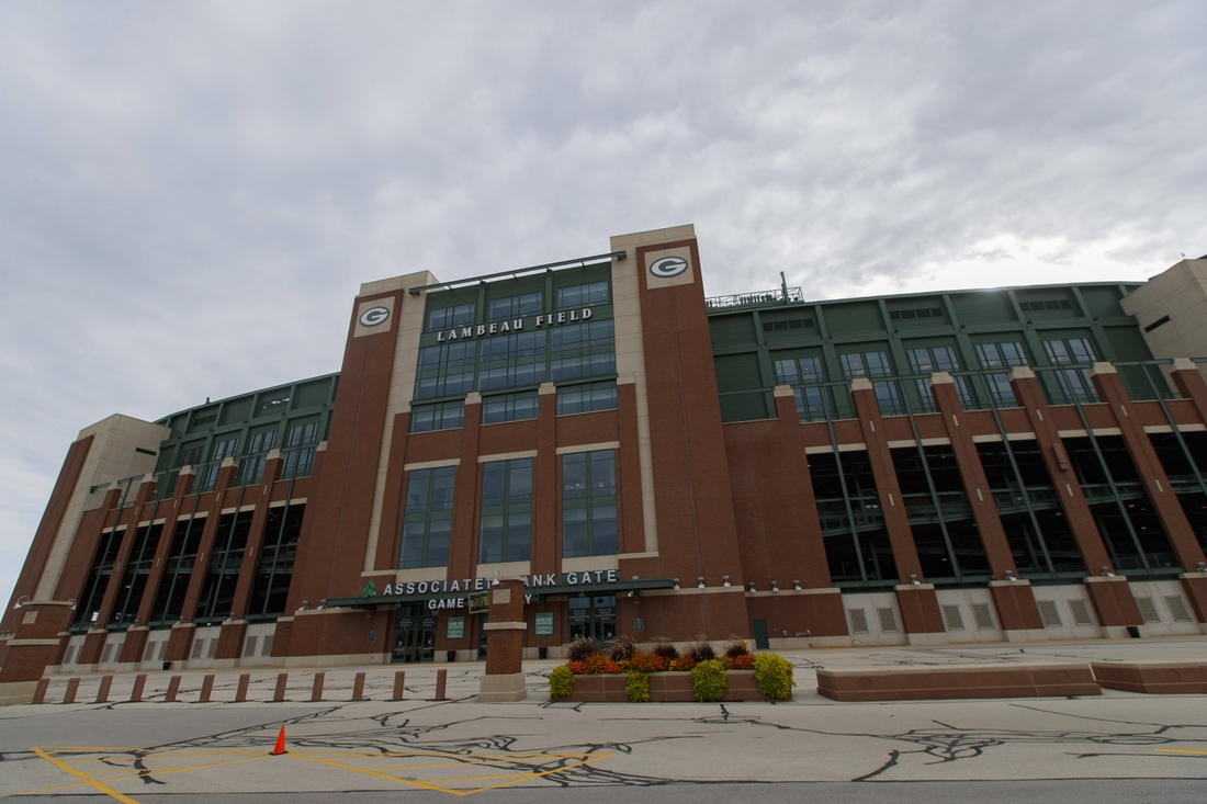 Sep 20, 2020; Green Bay, Wisconsin, USA;  General view of the outside of Lambeau Field prior to the game between the Detroit Lions and Green Bay Packers. Mandatory Credit: Jeff Hanisch-USA TODAY Sports