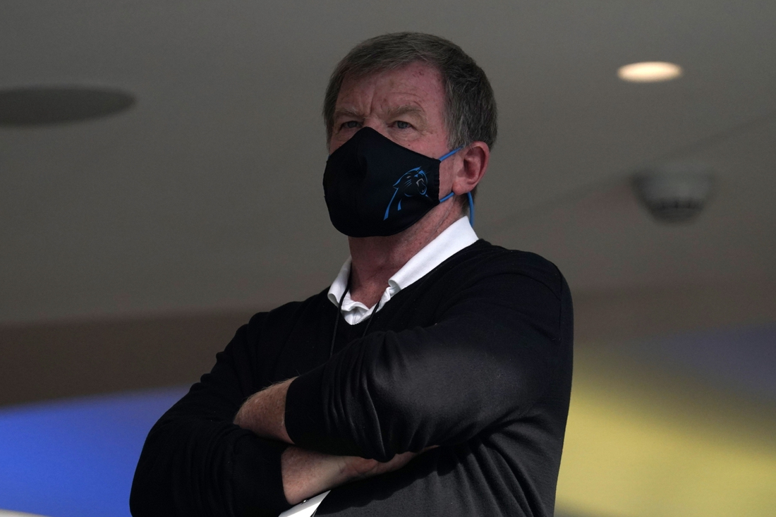 Sep 27, 2020; Inglewood, California, USA; Carolina Panthers general manager Marty Hurney watches during the game against the Los Angeles Chargers at SoFi Stadium. The Panthers defeated the Chargers 21-16. Mandatory Credit: Kirby Lee-USA TODAY Sports