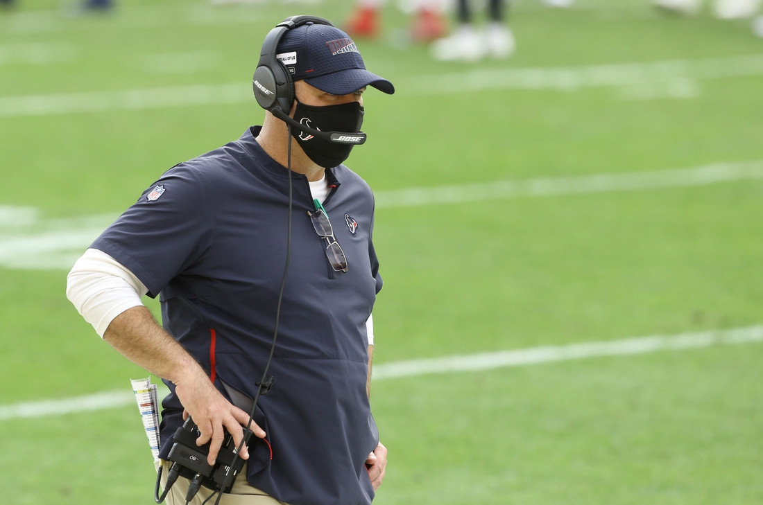 Sep 27, 2020; Pittsburgh, Pennsylvania, USA;  Houston Texans head coach Bill O'Brien looks on from the sidelines against the Pittsburgh Steelers during the third quarter at Heinz Field. The Steelers won 28-21. Mandatory Credit: Charles LeClaire-USA TODAY Sports