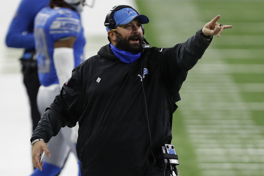 Oct 4, 2020; Detroit, Michigan, USA; Detroit Lions head coach Matt Patricia points down the field during the fourth quarter against the New Orleans Saints at Ford Field. Mandatory Credit: Raj Mehta-USA TODAY Sports