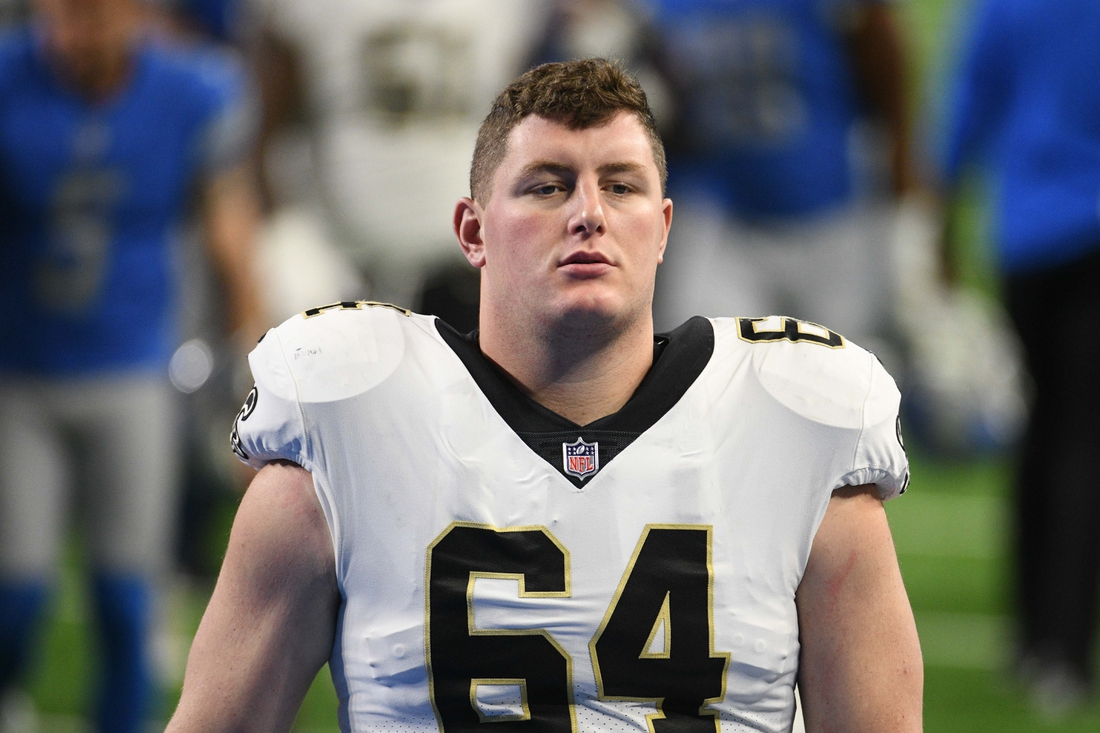 Oct 4, 2020; Detroit, Michigan, USA; New Orleans Saints center Will Clapp (64) at Ford Field. Mandatory Credit: Tim Fuller-USA TODAY Sports