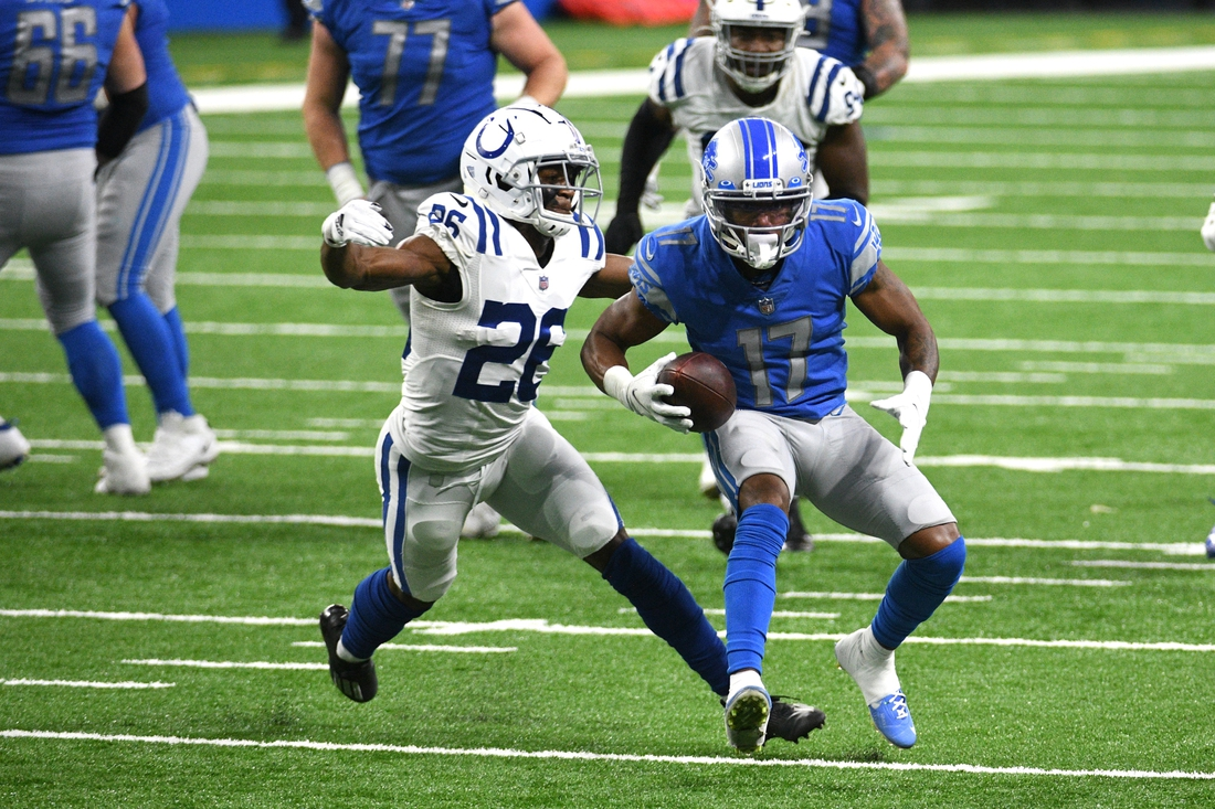 Nov 1, 2020; Detroit, Michigan, USA; Indianapolis Colts cornerback Rock Ya-Sin (26) tackles Detroit Lions wide receiver Marvin Hall (17) during the fourth quarter at Ford Field. Mandatory Credit: Tim Fuller-USA TODAY Sports