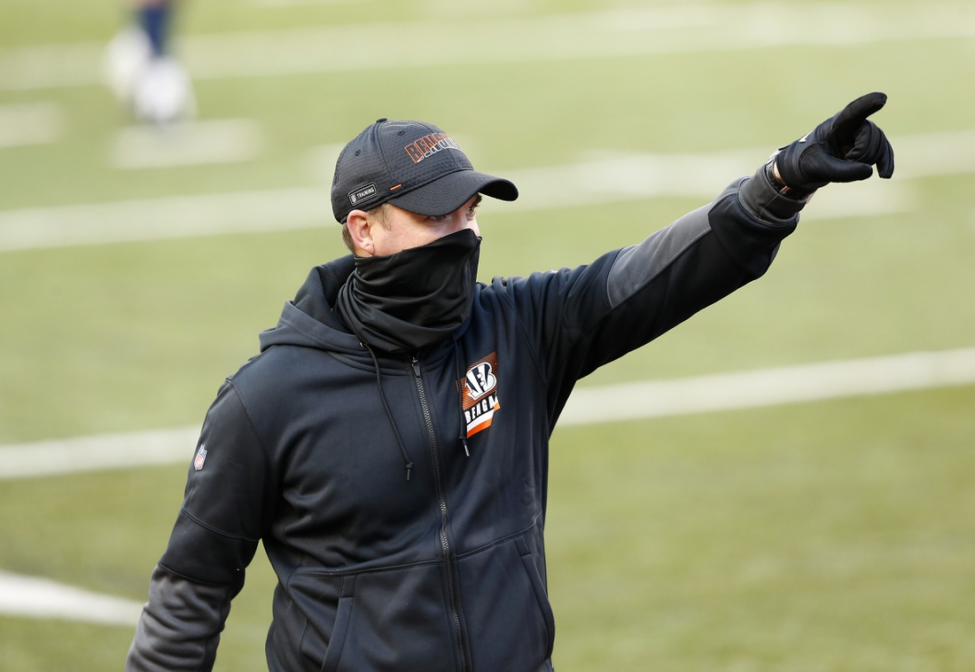 Nov 1, 2020; Cincinnati, Ohio, USA; Cincinnati Bengals head coach Zac Taylor celebrates after a game against the Tennessee Titans at Paul Brown Stadium. Mandatory Credit: Joseph Maiorana-USA TODAY Sports