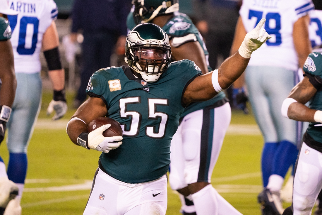 Nov 1, 2020; Philadelphia, Pennsylvania, USA;  Philadelphia Eagles defensive end Brandon Graham (55) reacts after a fumble recovery against the Dallas Cowboys during the first quarter at Lincoln Financial Field. Mandatory Credit: Bill Streicher-USA TODAY Sports