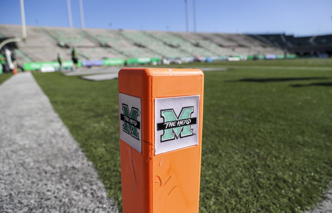 Nov 7, 2020; Huntington, West Virginia, USA; The Marshall Thundering Herd logo is seen on a pylon in the end zone before a game against the Massachusetts Minutemen at Joan C. Edwards Stadium. Mandatory Credit: Ben Queen-USA TODAY Sports