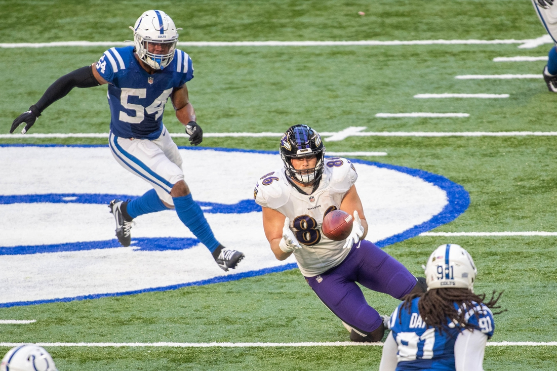 Nov 8, 2020; Indianapolis, Indiana, USA; Baltimore Ravens tight end Nick Boyle (86) catches the ball against the Indianapolis Colts in the second half at Lucas Oil Stadium. Mandatory Credit: Trevor Ruszkowski-USA TODAY Sports
