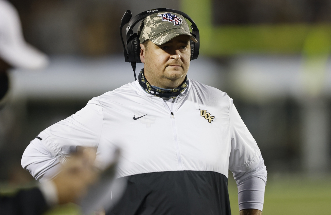 Nov 14, 2020; Orlando, Florida, USA;  UCF Knights head coach Josh Heupel watches from the sidelines during the first quarter against the Temple Owls at the Bounce House. Mandatory Credit: Reinhold Matay-USA TODAY Sports