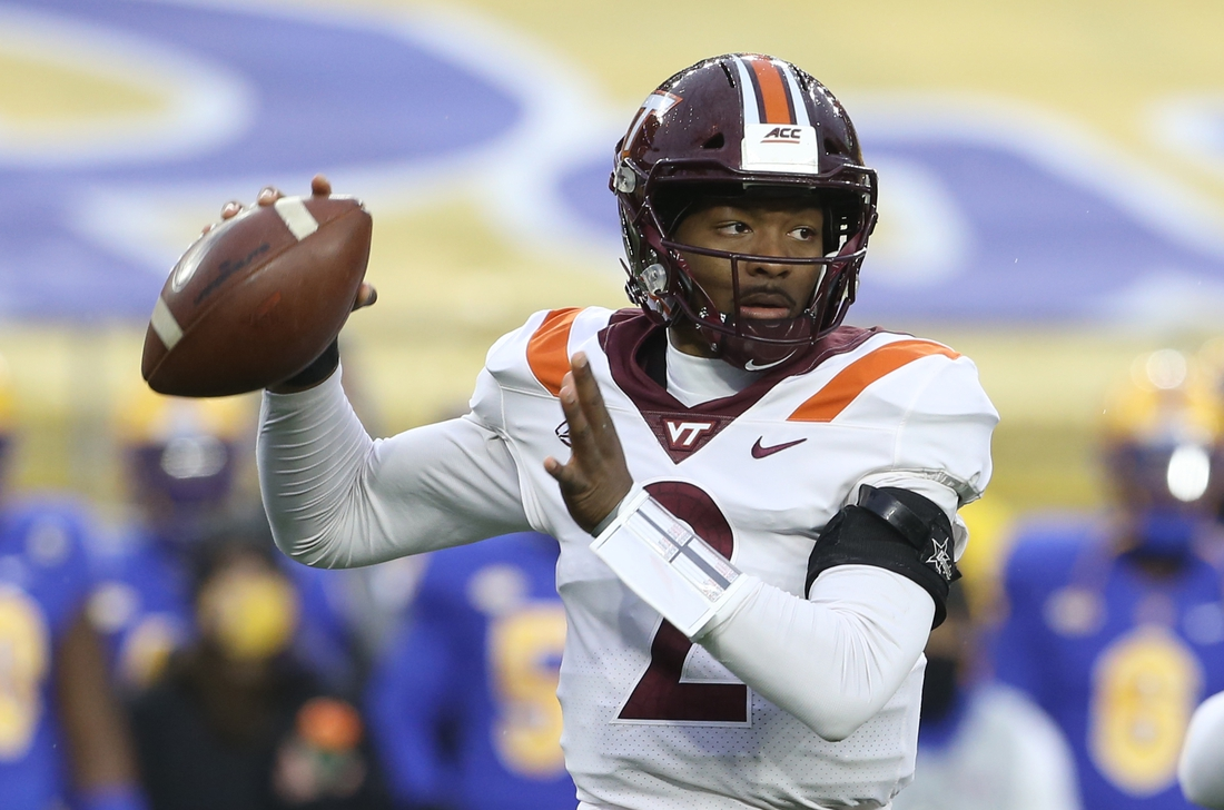 Nov 21, 2020; Pittsburgh, Pennsylvania, USA;  Virginia Tech Hokies quarterback Hendon Hooker (2) passes against the Pittsburgh Panthers during the first quarter at Heinz Field. Mandatory Credit: Charles LeClaire-USA TODAY Sports