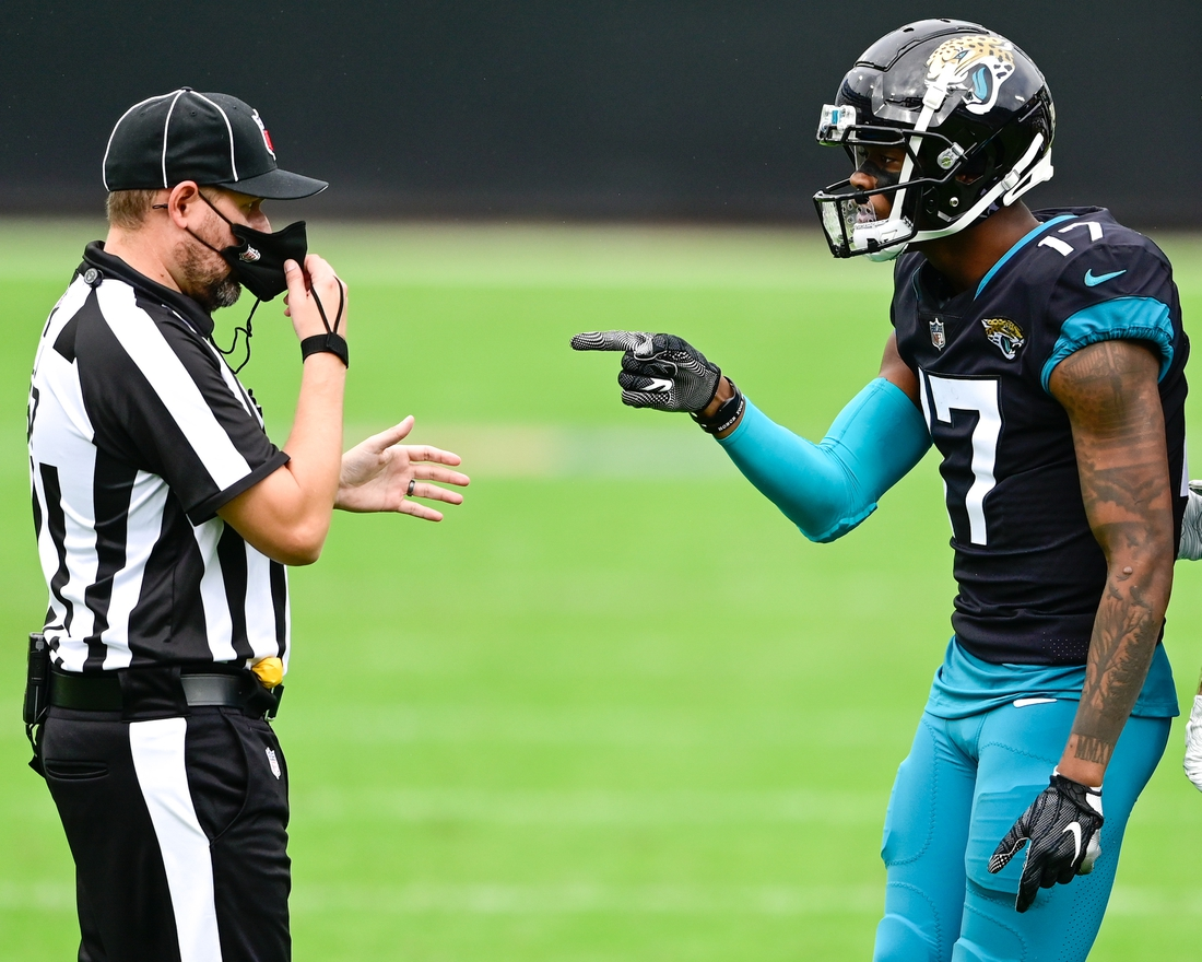 Nov 22, 2020; Jacksonville, Florida, USA; Jacksonville Jaguars wide receiver D.J. Chark (17) reacts during the second quarter against the Pittsburgh Steelers at TIAA Bank Field. Mandatory Credit: Douglas DeFelice-USA TODAY Sports