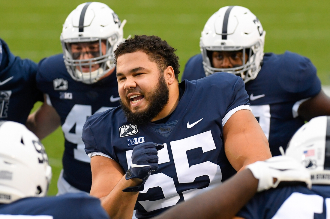 Nov 21, 2020; University Park, Pennsylvania, USA; Penn State Nittany Lions defensive tackle Antonio Shelton (55) dances for teammates prior to the game against the Iowa Hawkeyes at Beaver Stadium. Mandatory Credit: Rich Barnes-USA TODAY Sports
