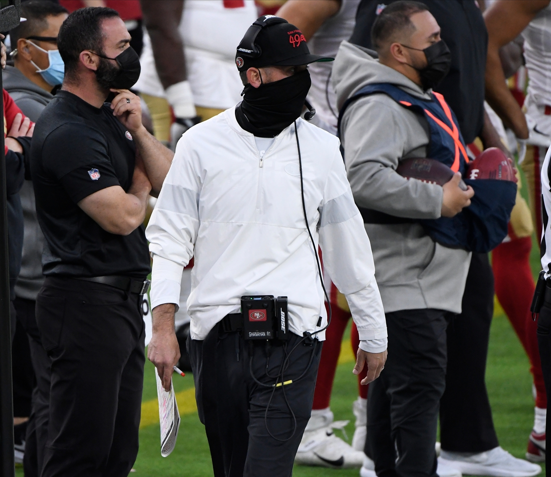 Nov 29, 2020; Inglewood, California, USA; San Francisco 49ers head coach Kyle Shanahan on the sidelines during the 49ers win over the Los Angeles Rams at SoFi Stadium. Mandatory Credit: Robert Hanashiro-USA TODAY Sports
