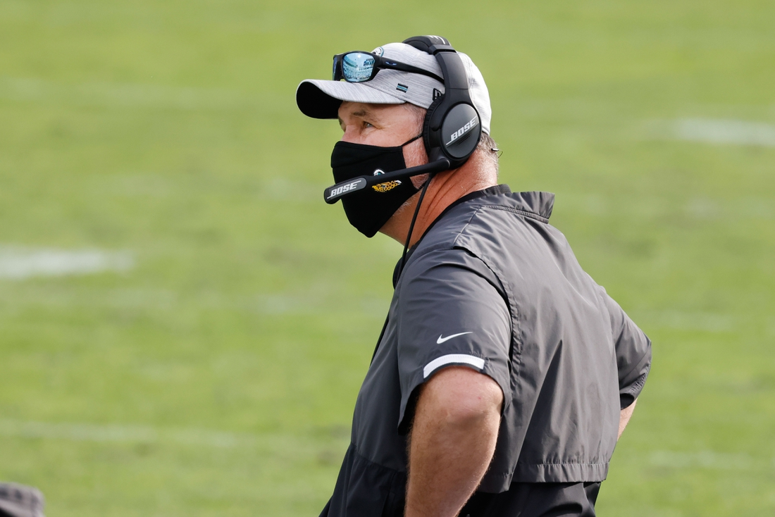 Nov 29, 2020; Jacksonville, Florida, USA;  Jacksonville Jaguars head coach Doug Marrone on the bench during the second half against the Cleveland Browns at TIAA Bank Field. Mandatory Credit: Reinhold Matay-USA TODAY Sports