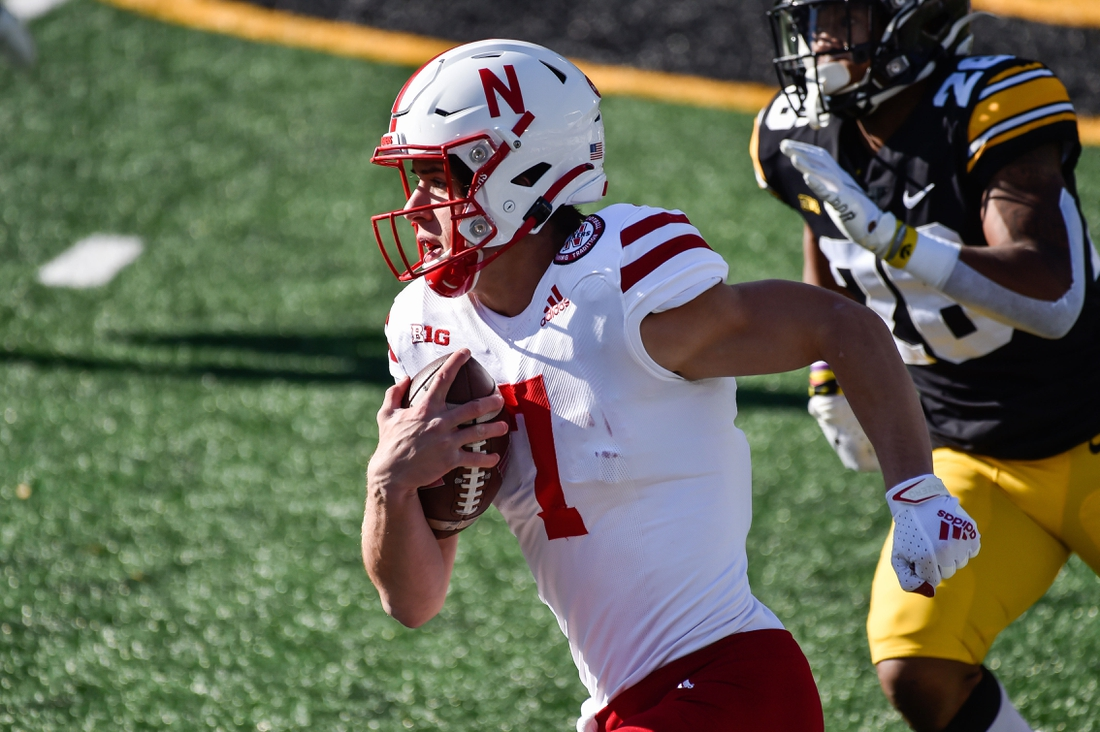 Nov 27, 2020; Iowa City, Iowa, USA; Nebraska Cornhuskers quarterback Luke McCaffrey (7) in action against the Iowa Hawkeyes at Kinnick Stadium. Mandatory Credit: Jeffrey Becker-USA TODAY Sports