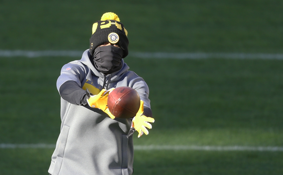 Dec 2, 2020; Pittsburgh, Pennsylvania, USA;  Pittsburgh Steelers cornerback Joe Haden (23) warms up before playing the Baltimore Ravens at Heinz Field. The Steelers won 19-14. Mandatory Credit: Charles LeClaire-USA TODAY Sports