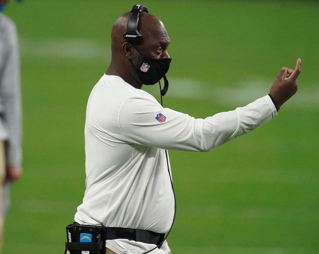 Dec 17, 2020; Paradise, Nevada, USA; Los Angeles Chargers head coach Anthony Lynn watches game action against the Las Vegas Raiders during overtime at Allegiant Stadium. Mandatory Credit: Kirby Lee-USA TODAY Sports