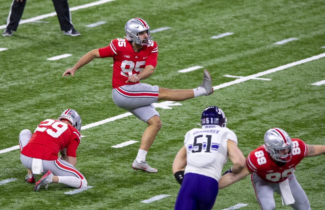 Dec 19, 2020; Indianapolis, Indiana, USA;  Ohio State Buckeyes place kicker Blake Haubeil (95) kicks a 43-yard field goal against the Northwestern Wildcats during the first half of the Big Ten Championship game at Lucas Oil Stadium. Mandatory Credit: Doug McSchooler-USA TODAY Sports