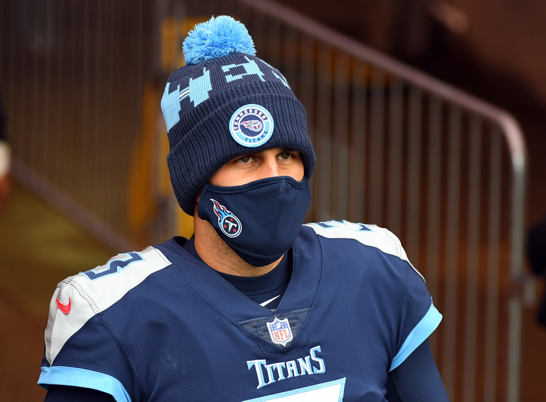 Dec 20, 2020; Nashville, Tennessee, USA; Tennessee Titans kicker Stephen Gostkowski (3) looks on during warmups before the game against the Detroit Lions at Nissan Stadium. Mandatory Credit: Christopher Hanewinckel-USA TODAY Sports