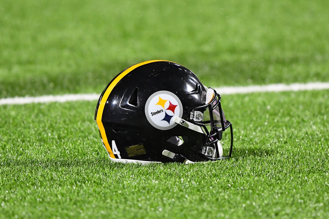 Dec 13, 2020; Orchard Park, New York, USA; General view of a Pittsburgh Steelers helmet on the turf prior to the game against the Buffalo Bills at Bills Stadium. Mandatory Credit: Rich Barnes-USA TODAY Sports