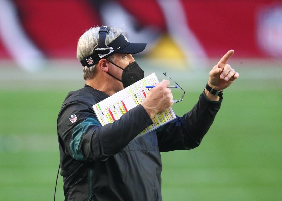 Dec 20, 2020; Glendale, Arizona, USA; Philadelphia Eagles head coach Doug Pederson reacts against the Arizona Cardinals at State Farm Stadium. Mandatory Credit: Mark J. Rebilas-USA TODAY Sports