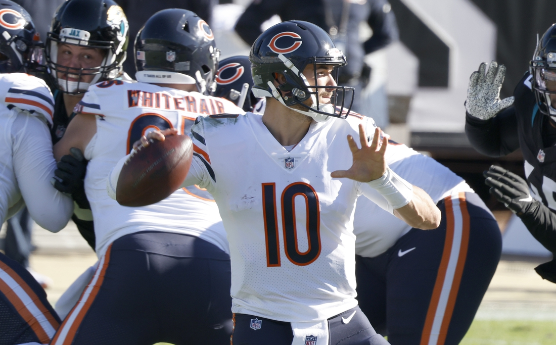 Dec 27, 2020; Jacksonville, Florida, USA; Chicago Bears quarterback Mitchell Trubisky (10) throws a pass against the Jacksonville Jaguars during the second quarter at TIAA Bank Field. Mandatory Credit: Reinhold Matay-USA TODAY Sports