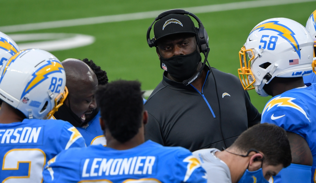 Dec 27, 2020; Inglewood, California, USA; Los Angeles Chargers head coach Anthony Lynn talks to the kick off team after the Chargers scored a touchdown in the third quarter against the Denver Broncos at SoFi Stadium. Mandatory Credit: Robert Hanashiro-USA TODAY Sports