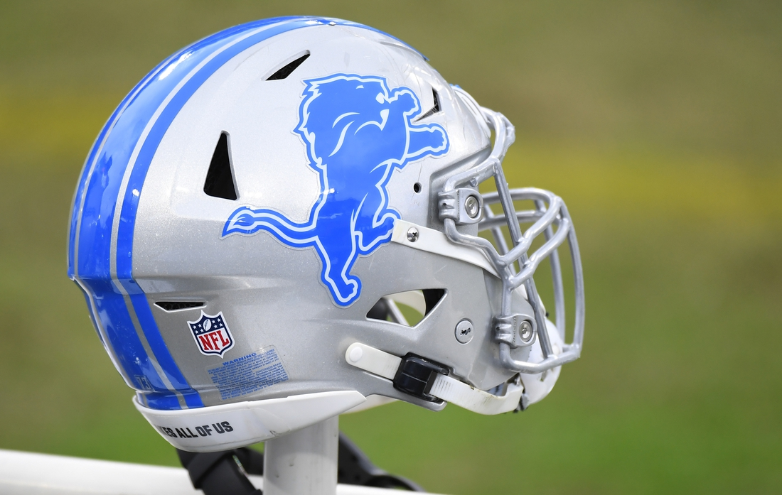 Dec 20, 2020; Nashville, Tennessee, USA; View of a Detroit Lions helmet on the bench before the game against the Tennessee Titans at Nissan Stadium. Mandatory Credit: Christopher Hanewinckel-USA TODAY Sports