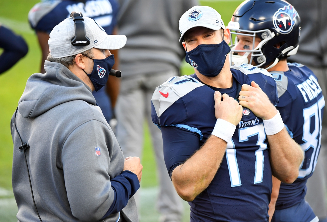 Dec 20, 2020; Nashville, Tennessee, USA; Tennessee Titans quarterback Ryan Tannehill (17) talks with Tennessee Titans offensive coordinator Arthur Smith at Nissan Stadium. Mandatory Credit: Christopher Hanewinckel-USA TODAY Sports