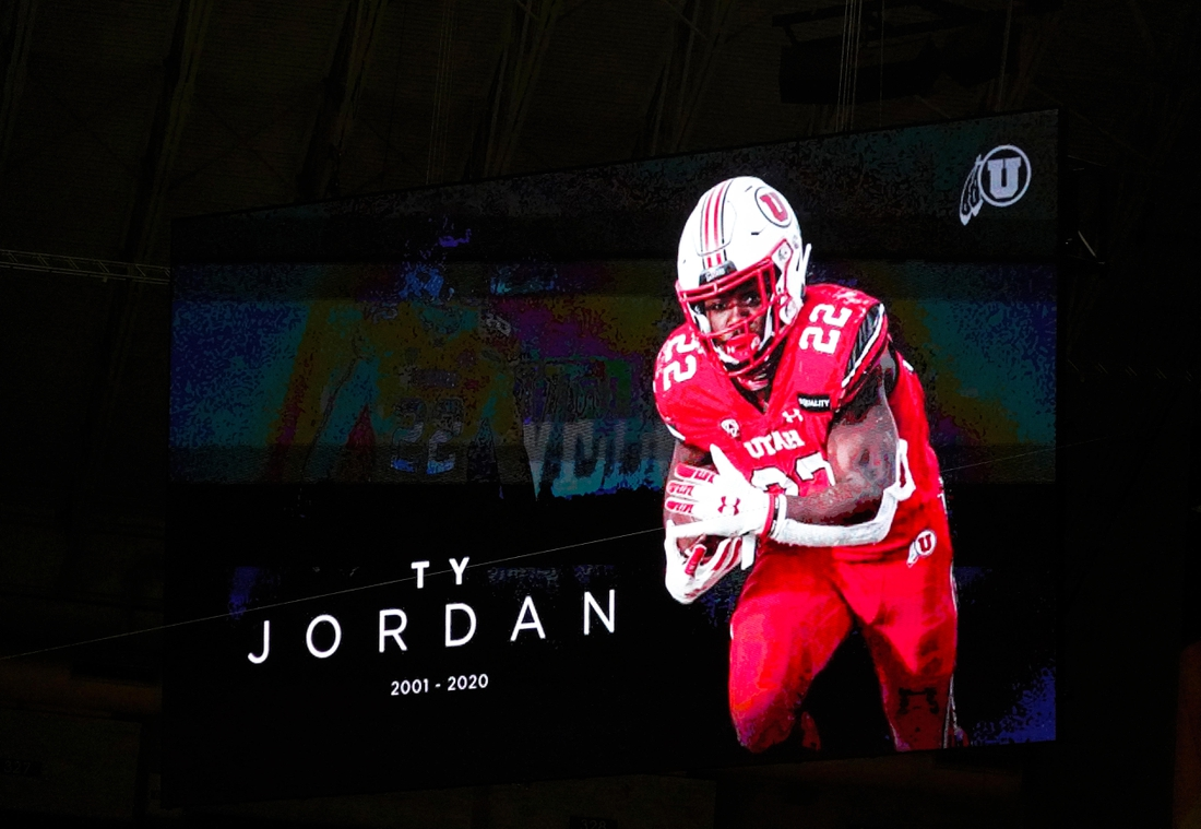 Dec 29, 2020; San Antonio, TX, USA; Moment of silence for Utah running back Ty Jordan during the first half of a game between the Texas Longhorns and the Colorado Buffaloes at Alamodome. Mandatory Credit: Kirby Lee-USA TODAY Sports