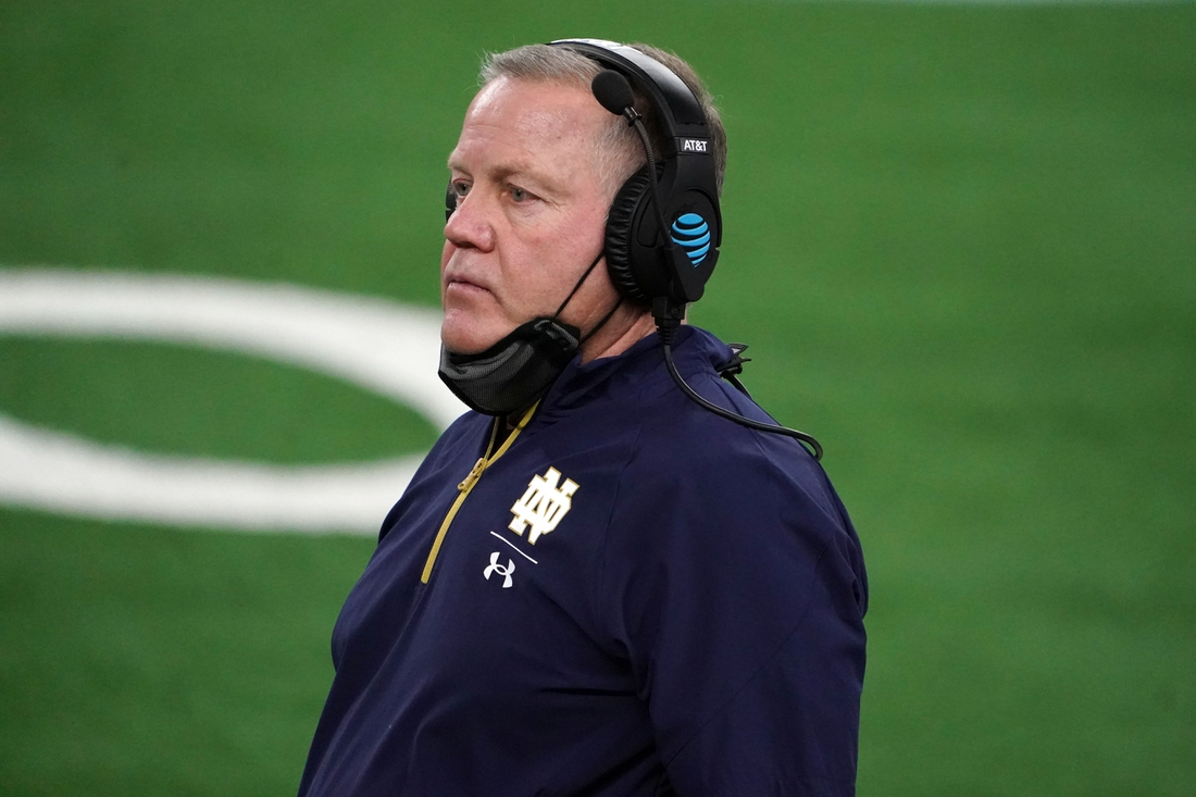 Jan 1, 2021; Arlington, TX, USA; Notre Dame Fighting Irish head coach Brian Kelly looks on in the fourth quarter against the Alabama Crimson Tide during the Rose Bowl at AT&T Stadium. Mandatory Credit: Kirby Lee-USA TODAY Sports