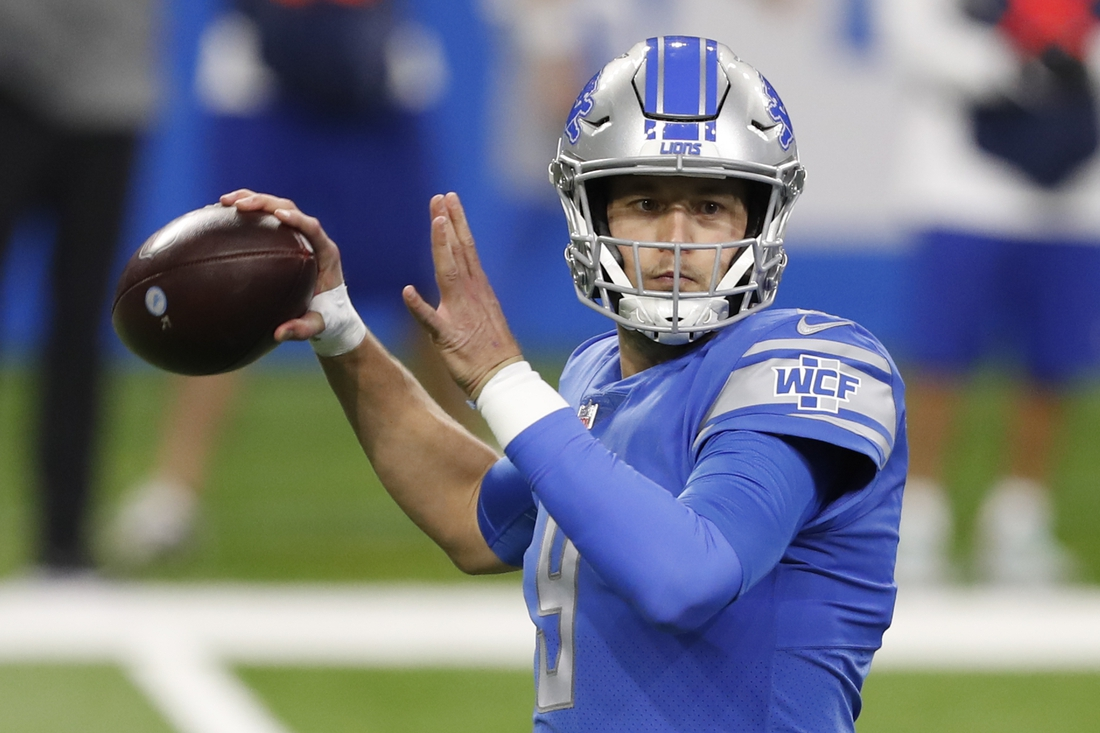 Jan 3, 2021; Detroit, Michigan, USA; Detroit Lions quarterback Matthew Stafford (9) passes the ball during the first quarter against the Minnesota Vikings at Ford Field. Mandatory Credit: Raj Mehta-USA TODAY Sports