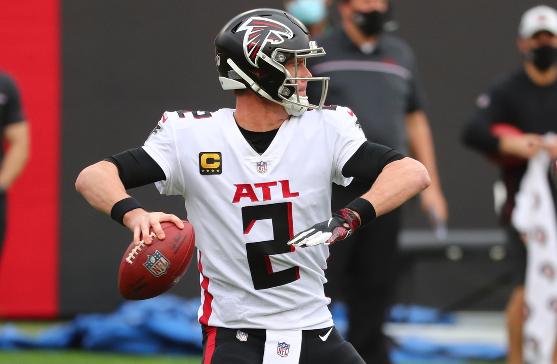 Jan 3, 2021; Tampa, Florida, USA;  Atlanta Falcons quarterback Matt Ryan (2) throws the ball against the Tampa Bay Buccaneers during the second quarter at Raymond James Stadium. Mandatory Credit: Kim Klement-USA TODAY Sports