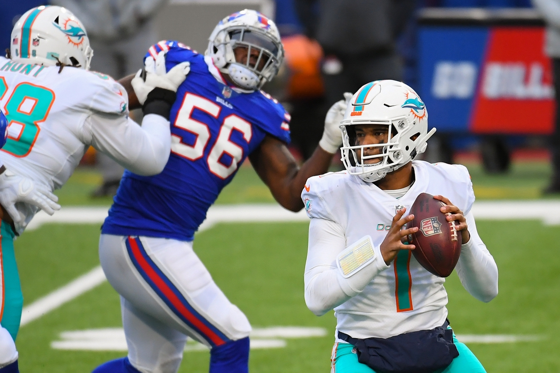 Jan 3, 2021; Orchard Park, New York, USA; Miami Dolphins quarterback Tua Tagovailoa (1) drops back to pass against the Buffalo Bills during the third quarter at Bills Stadium. Mandatory Credit: Rich Barnes-USA TODAY Sports